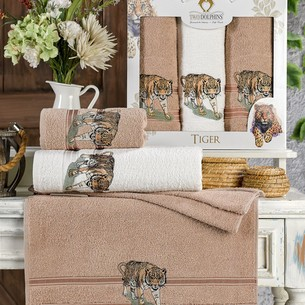Подарочный набор полотенец для ванной 50х90(2), 70х140(1) Two Dolphins TIGER хлопковая махра коричневый