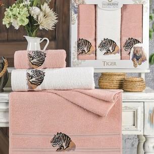 Подарочный набор полотенец для ванной 50х90(2), 70х140(1) Two Dolphins TIGER хлопковая махра пудра