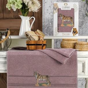 Полотенце для ванной в подарочной упаковке Two Dolphins TIGER хлопковая махра баклажан 50х90