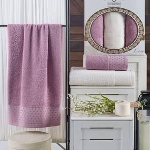 Подарочный набор полотенец для ванной 50х90(2), 70х140(1) Two Dolphins LENNY хлопковая махра лиловый
