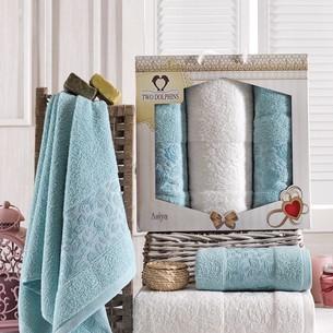 Подарочный набор полотенец для ванной 50х90(2), 70х140(1) Two Dolphins ASIYA хлопковая махра бирюзовый