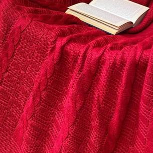Вязаный плед-покрывало EFOR красный 200х220