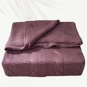 Вязаный плед-покрывало EFOR темно-фиолетовый 200х220
