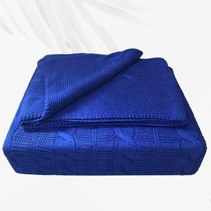 Вязаный плед-покрывало EFOR темно-синий 200х220