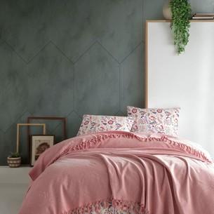 Летнее постельное белье с покрывалом-одеялом пике Saheser DALILA хлопковый ранфорс пудра евро