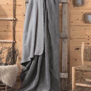 Плед Cotton Box хлопок серый, тёмно-серый 200х220