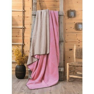 Плед Cotton Box хлопок розовый, бежевый 200х220