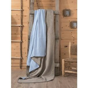 Плед Cotton Box хлопок визон, голубой 200х220