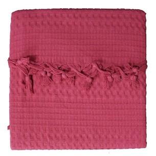 Вафельная простыня-покрывало для укрывания (пике) Saheser хлопок красный 220х240
