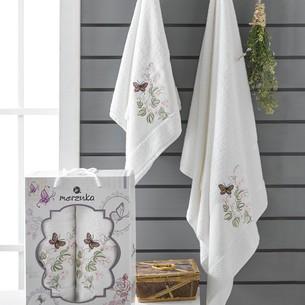 Подарочный набор полотенец для ванной 50х90, 70х140 Merzuka PAPILLON хлопковая махра кремовый