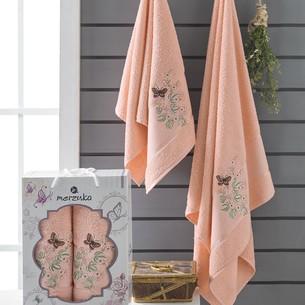Подарочный набор полотенец для ванной 50х90, 70х140 Merzuka PAPILLON хлопковая махра оранжевый