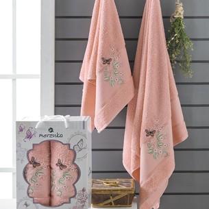 Подарочный набор полотенец для ванной 50х90, 70х140 Merzuka PAPILLON хлопковая махра персиковый