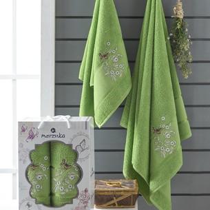 Подарочный набор полотенец для ванной 50х90, 70х140 Merzuka PAPILLON хлопковая махра зеленый