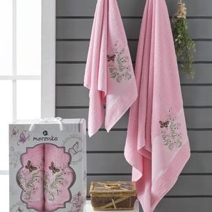 Подарочный набор полотенец для ванной 50х90, 70х140 Merzuka PAPILLON хлопковая махра розовый