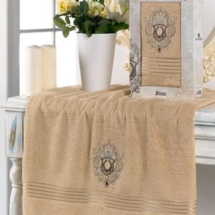 Полотенце для ванной в подарочной упаковке Merzuka BOSS хлопковая махра бежевый 70х130