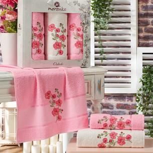 Подарочный набор полотенец для ванной 50х90(2), 70х140(1) Merzuka ORKIDE хлопковая махра светло-розовый