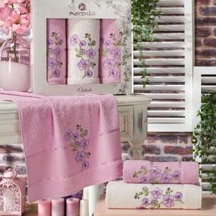 Подарочный набор полотенец для ванной 50х90(2), 70х140(1) Merzuka ORKIDE хлопковая махра сиреневый