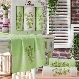 Подарочный набор полотенец для ванной 50х90(2), 70х140(1) Merzuka ORKIDE хлопковая махра фисташковый