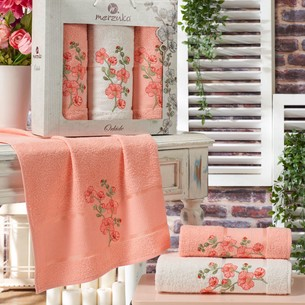 Подарочный набор полотенец для ванной 50х90(2), 70х140(1) Merzuka ORKIDE хлопковая махра оранжевый