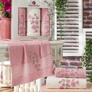 Подарочный набор полотенец для ванной 50х90(2), 70х140(1) Merzuka ORKIDE хлопковая махра розовый