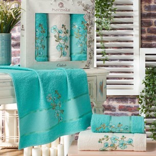 Подарочный набор полотенец для ванной 50х90(2), 70х140(1) Merzuka ORKIDE хлопковая махра бирюзовый