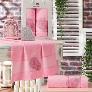 Подарочный набор полотенец для ванной 50х90, 70х140 Merzuka RINGS хлопковая махра розовый