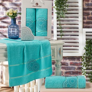 Подарочный набор полотенец для ванной 50х90, 70х140 Merzuka RINGS хлопковая махра бирюзовый