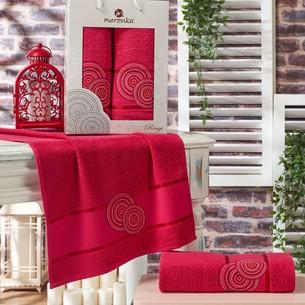 Подарочный набор полотенец для ванной 50х90, 70х140 Merzuka RINGS хлопковая махра бордовый