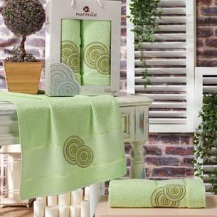 Подарочный набор полотенец для ванной 50х90, 70х140 Merzuka RINGS хлопковая махра фисташковый