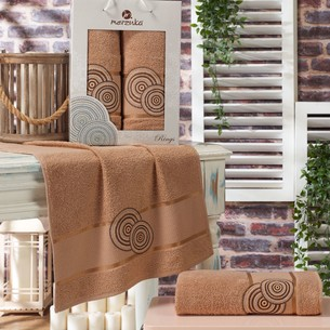 Подарочный набор полотенец для ванной 50х90, 70х140 Merzuka RINGS хлопковая махра коричневый