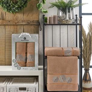 Подарочный набор полотенец для ванной 50х90, 70х140 Merzuka HEXAGON хлопковая махра коричневый