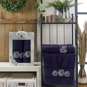 Подарочный набор полотенец для ванной 50х90, 70х140 Merzuka HEXAGON хлопковая махра синий