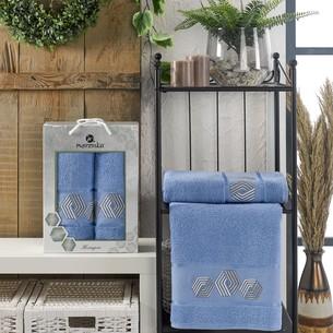 Подарочный набор полотенец для ванной 50х90, 70х140 Merzuka HEXAGON хлопковая махра голубой