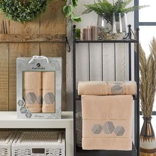 Подарочный набор полотенец для ванной 50х90, 70х140 Merzuka HEXAGON хлопковая махра бежевый