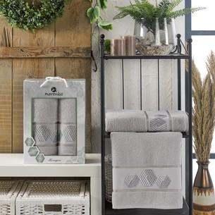 Подарочный набор полотенец для ванной 50х90, 70х140 Merzuka HEXAGON хлопковая махра серый