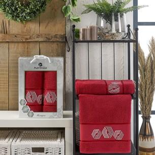 Подарочный набор полотенец для ванной 50х90, 70х140 Merzuka HEXAGON хлопковая махра бордовый