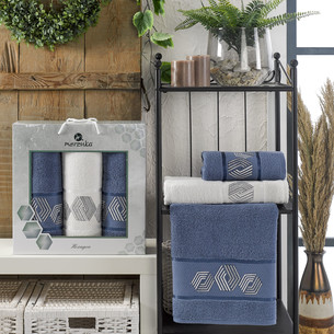 Подарочный набор полотенец для ванной 50х90(2), 70х140(1) Merzuka HEXAGON хлопковая махра темно-голубой