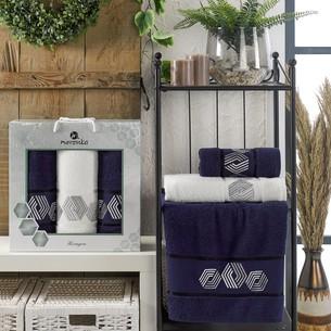 Подарочный набор полотенец для ванной 50х90(2), 70х140(1) Merzuka HEXAGON хлопковая махра синий