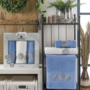 Подарочный набор полотенец для ванной 50х90(2), 70х140(1) Merzuka HEXAGON хлопковая махра голубой