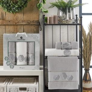 Подарочный набор полотенец для ванной 50х90(2), 70х140(1) Merzuka HEXAGON хлопковая махра серый