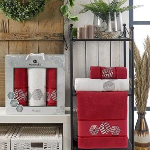 Подарочный набор полотенец для ванной 50х90(2), 70х140(1) Merzuka HEXAGON хлопковая махра бордовый
