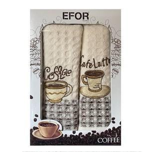 Подарочный набор кухонных полотенец 50х70(2) Efor LUX кофе хлопковая вафля