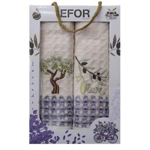 Подарочный набор кухонных полотенец 50х70(2) Efor LUX оливки/дерево хлопковая вафля