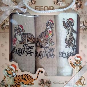 Подарочный набор кухонных полотенец 40х60(3) Efor LUX тигры хлопковая вафля