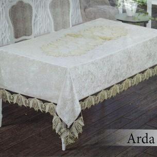 Скатерть прямоугольная Efor ARDA велюр кремовый 160х220