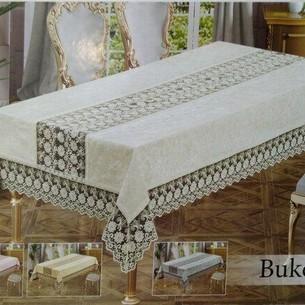 Скатерть прямоугольная Efor BUKET велюр кремовый 160х300