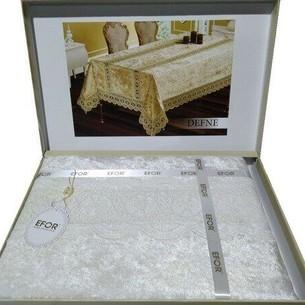 Скатерть прямоугольная Efor DEFNE велюр кремовый 160х350