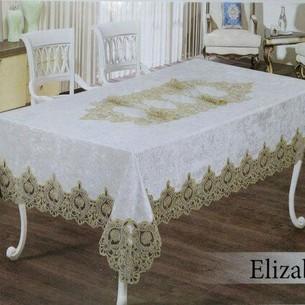 Скатерть прямоугольная Efor ELIZABETH велюр кремовый 160х220