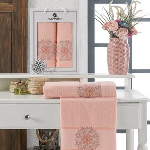 Подарочный набор полотенец для ванной 50х90, 70х140 Merzuka INCI хлопковая махра оранжевый