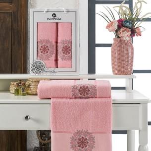 Подарочный набор полотенец для ванной 50х90, 70х140 Merzuka INCI хлопковая махра розовый